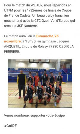 La ligue IDF met a l'honneur le match de coupe de france des U17
