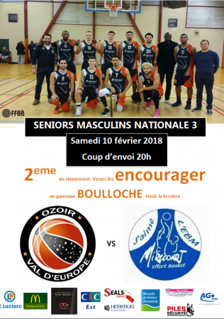 NM3 : Ozoir Val d'Europe vs Mirecourt ce samedi 10/02 20h à Boulloche